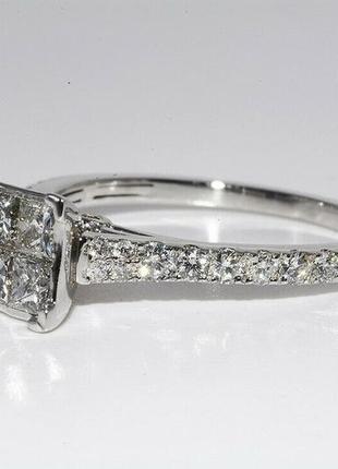 Золотое кольцо 585  белое золото бриллианты 1ct размер 17 сертификат2 фото