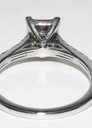 Золотое кольцо 585  белое золото бриллианты 1ct размер 17 сертификат7 фото