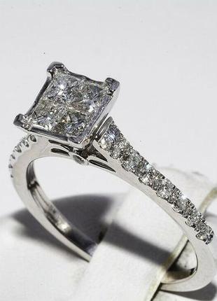 Золотое кольцо 585  белое золото бриллианты 1ct размер 17 сертификат4 фото