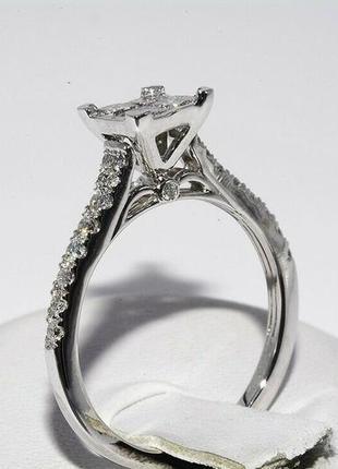 Золотое кольцо 585  белое золото бриллианты 1ct размер 17 сертификат5 фото