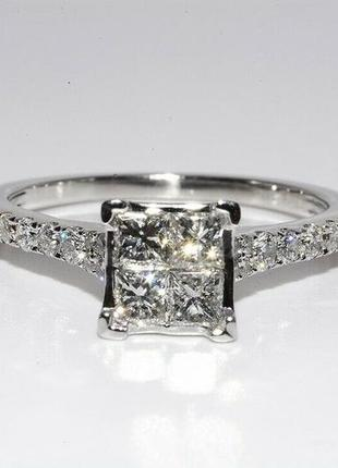Золотое кольцо 585  белое золото бриллианты 1ct размер 17 сертификат1 фото