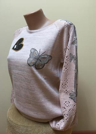 Стильна кофтинка з люрексом в'язаними рукавами і метеликами з камніців❤️❤️❤️1 фото