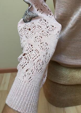 Стильна кофтинка з люрексом в'язаними рукавами і метеликами з камніців❤️❤️❤️5 фото
