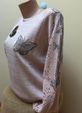 Стильна кофтинка з люрексом в'язаними рукавами і метеликами з камніців❤️❤️❤️2 фото