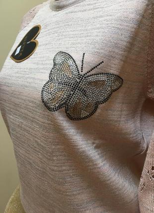 Стильна кофтинка з люрексом в'язаними рукавами і метеликами з камніців❤️❤️❤️3 фото