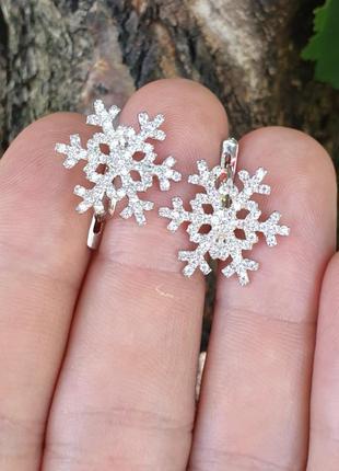 Серьги снежинка из серебра1 фото