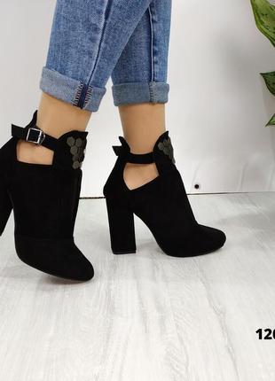 Ботильоны замшевые. демисезонные черные туфли. демисезонные ботинки замшевые4 фото
