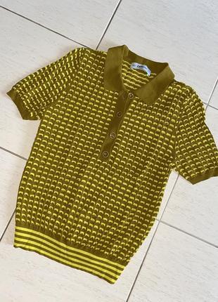 Трендовая футболочка/поло zara knit оригинал яркого цвета1 фото