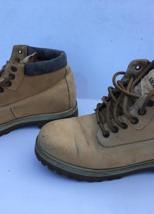 Ботинки кожа бежевые зимние мужские под тимберленд водоотталкивающие