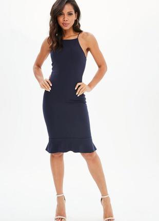 Синее миди платье с воланом снизу1 фото