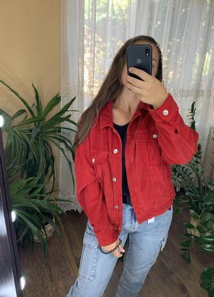 Красный вельветовый пиджак врубчик от topshop5 фото