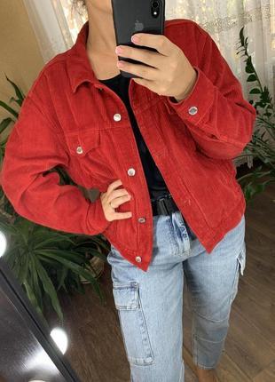 Красный вельветовый пиджак врубчик от topshop3 фото