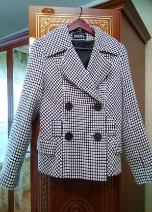 Новое стильное брендовое двубортное пальто жакет гусиная лапка, размер 12-141 фото