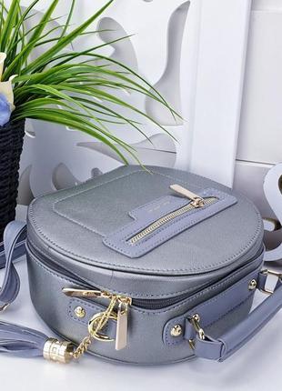 Стильная серебристая сумочка 19х22х93 фото