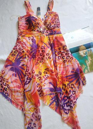 """Эффектное асимметричное платье с тропическим принтом """"lipsy"""""""