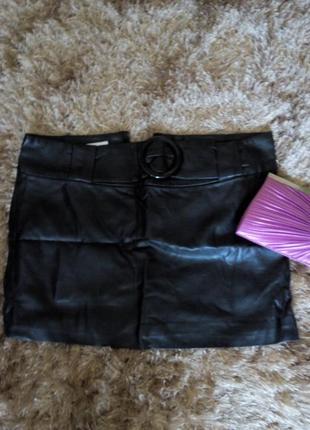 Кожаная мини юбка1 фото