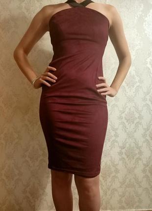 Бордовое платье1 фото