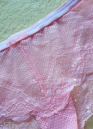 Новые розовые кружевные трусики танго с-м/s-m/8-10/36-38/44-462 фото