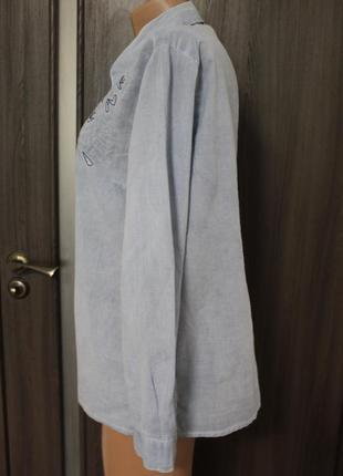 Легкая хлопковая рубашка с вышивкой в идеальном состоянии l3 фото