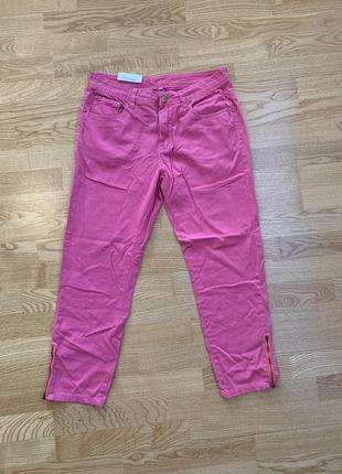 Укорочені рожеві джинси батал1 фото