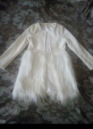 Шикарное пальто с мехом под перья страуса1 фото