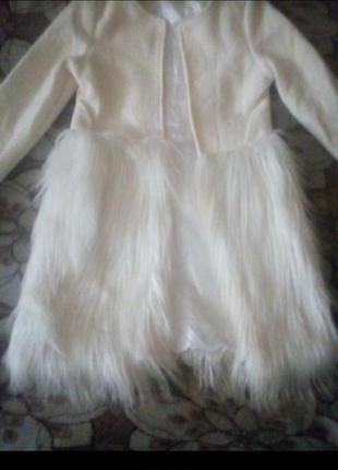 Шикарное пальто с мехом под перья страуса2 фото