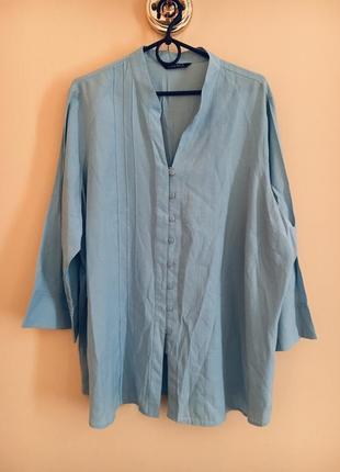 Батал большой размер голубая рубашка блуза блузка блузочка рубашка офис дресс код1 фото