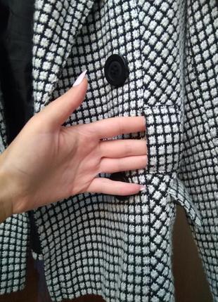 Новое стильное брендовое двубортное пальто жакет гусиная лапка, размер 12-142 фото