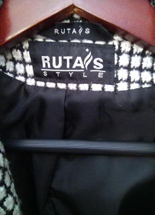 Новое стильное брендовое двубортное пальто жакет гусиная лапка, размер 12-143 фото