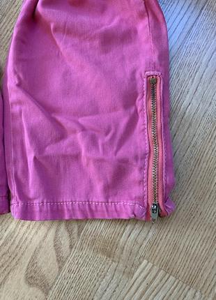 Укорочені рожеві джинси батал6 фото