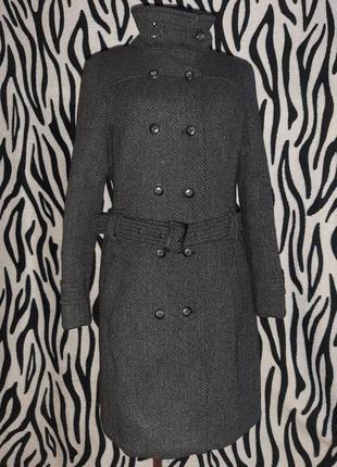 Шерстяное двубортное пальто1 фото