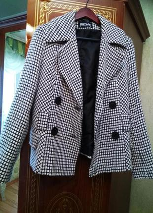 Новое стильное брендовое двубортное пальто жакет гусиная лапка, размер 12-145 фото