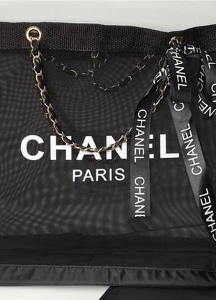 Двухстороння пляжная сумка в стиле шанель chanel1 фото