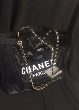 Двухстороння пляжная сумка в стиле шанель chanel2 фото