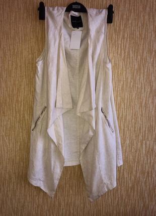 Лляная жилетка/ кардиган без рукава с карманами ⭐️1 фото