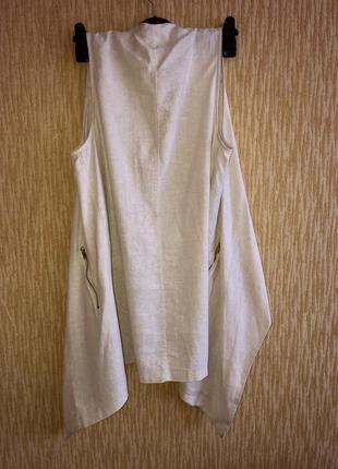 Лляная жилетка/ кардиган без рукава с карманами ⭐️2 фото