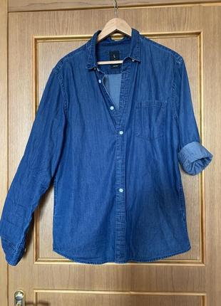 Рубашка джинсовая, рубашка котоновая, синяя джинсовая рубашка