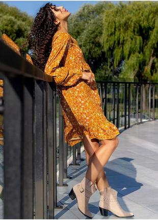 Плаття в принт з рюшами2 фото