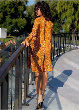 Плаття в принт з рюшами3 фото