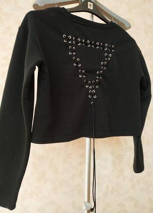 Черная укороченная худи кофта толстовка guess1 фото