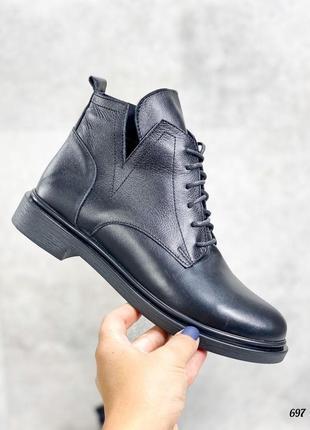 Ботинки 🥾 женские чёрные натуральная кожа демисезонные3 фото