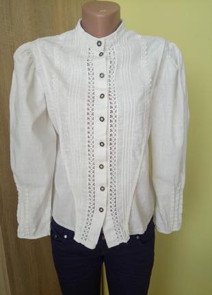 Натуральна лляна рубашка рукав фонарик буф прошва1 фото