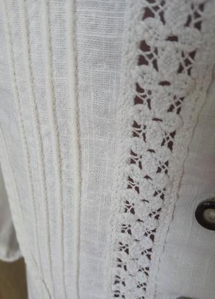 Натуральна лляна рубашка рукав фонарик буф прошва4 фото