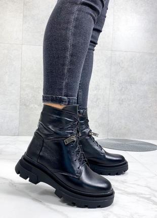 Ботинки 🥾 женские чёрные натуральная кожа зима2 фото