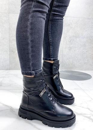 Ботинки 🥾 женские чёрные натуральная кожа зима6 фото