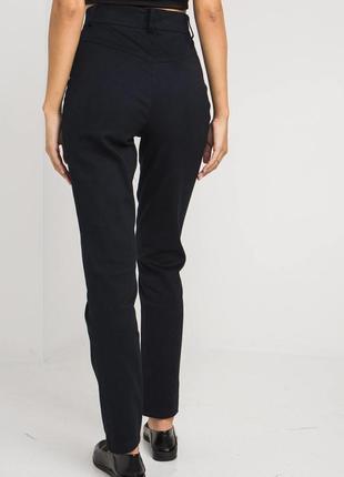 Джинсовые брюки темно-синего цвета с высокой посадкой2 фото