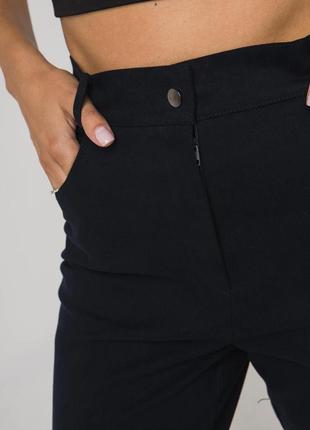 Джинсовые брюки темно-синего цвета с высокой посадкой6 фото