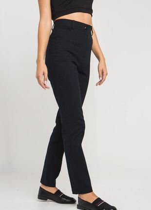 Джинсовые брюки темно-синего цвета с высокой посадкой5 фото
