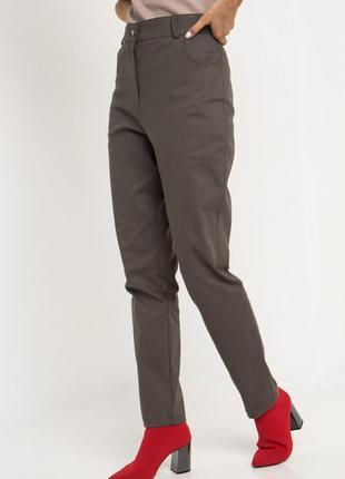 Джинсовые брюки с высокой посадкой хаки3 фото