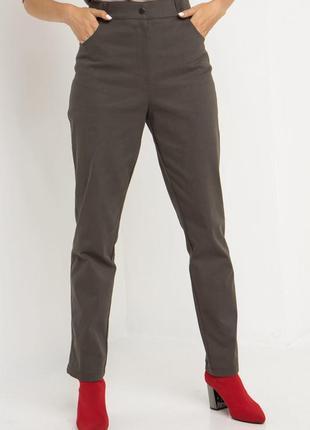 Джинсовые брюки с высокой посадкой хаки6 фото